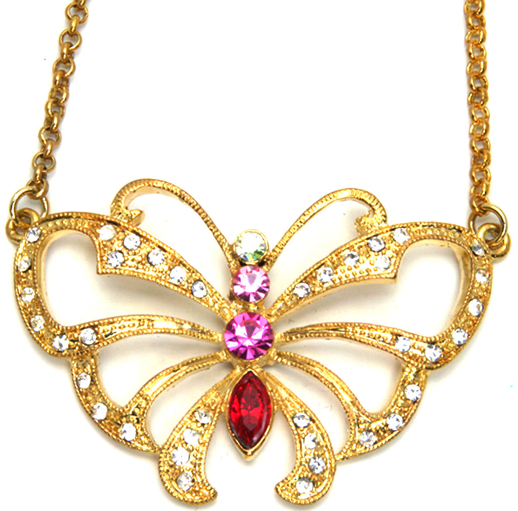 Butterfly Necklace, Pink