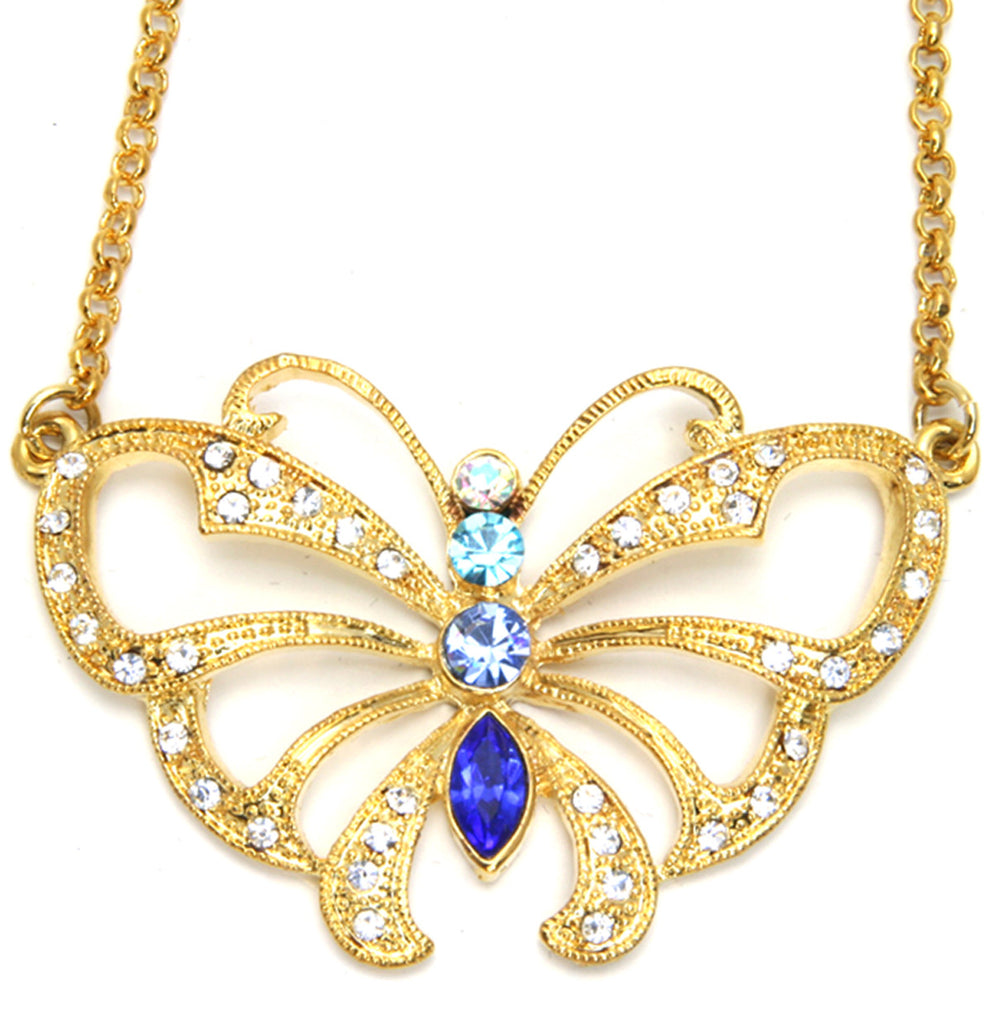 Butterfly Necklace, Blue