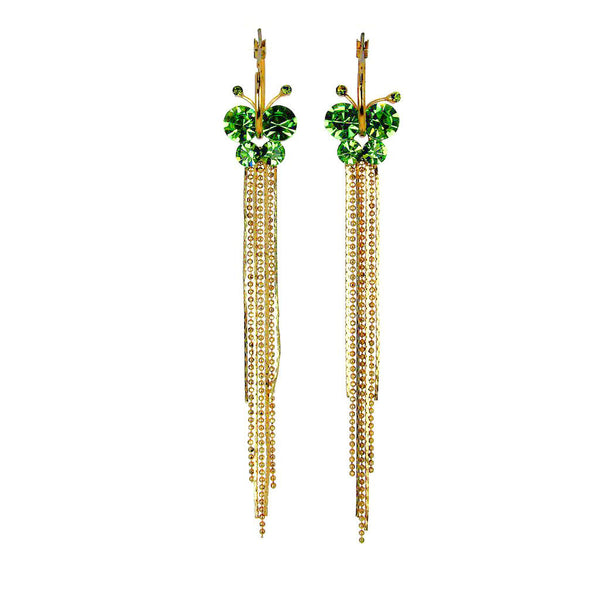Butterfly Earrings Emerald Crystals