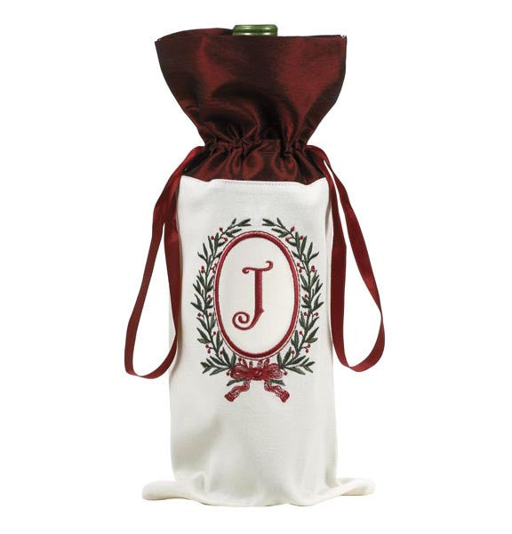 Christmas Monogram Wine Bag J