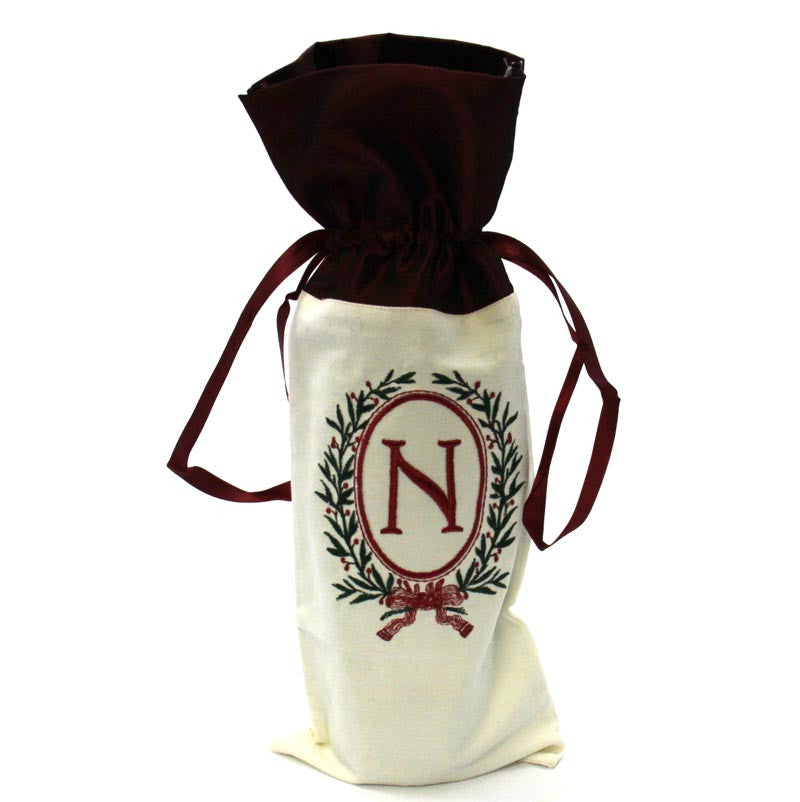 Christmas Monogram Wine Bag N