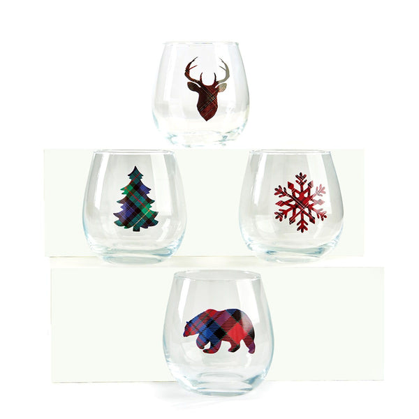 Stemless Wine Glass , Winter, set of 4