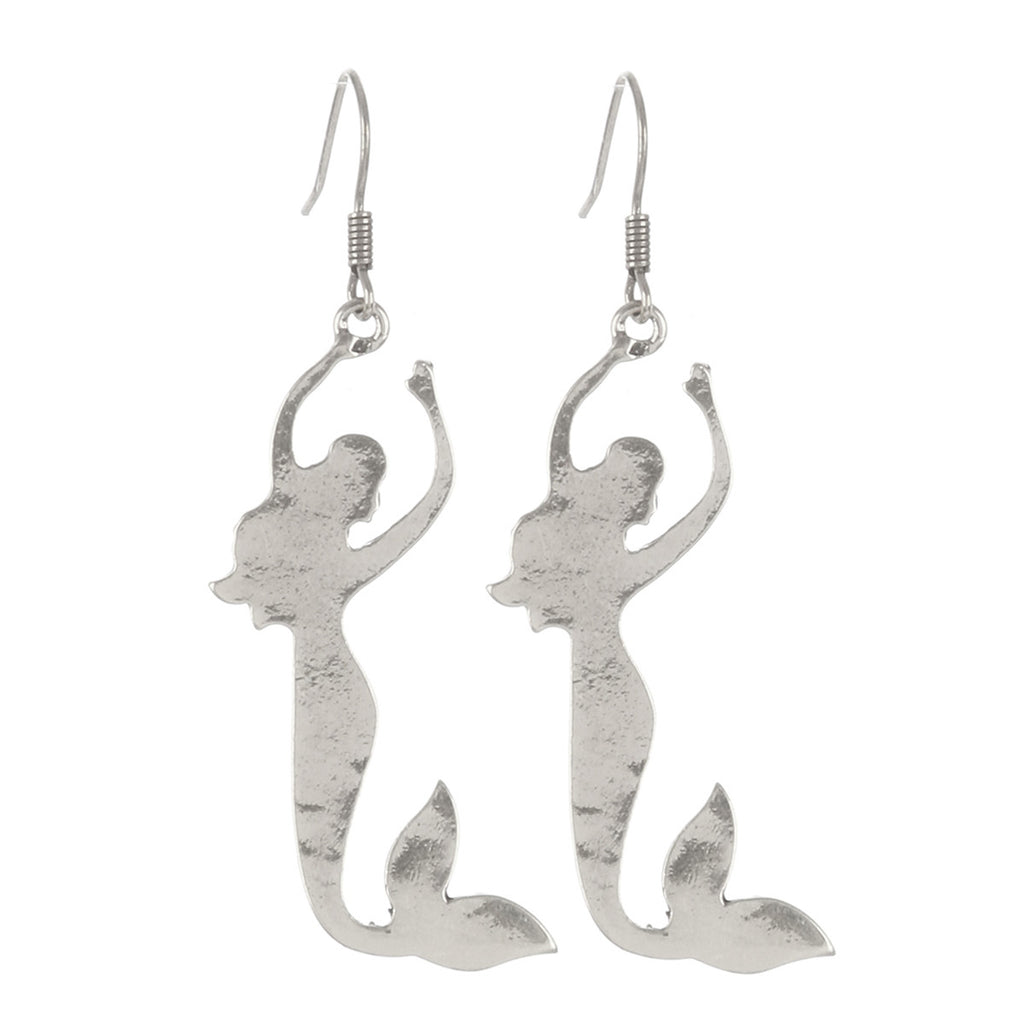 Mermaid Earrings Aged Metal