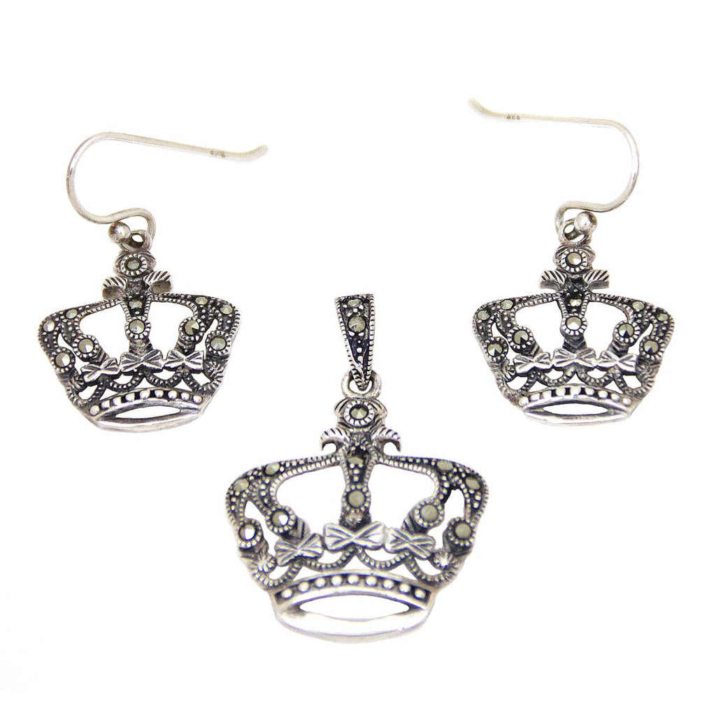 Crown Pendant & Earring Sterling Silver