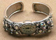 Watch Cuff with Crystals Silver