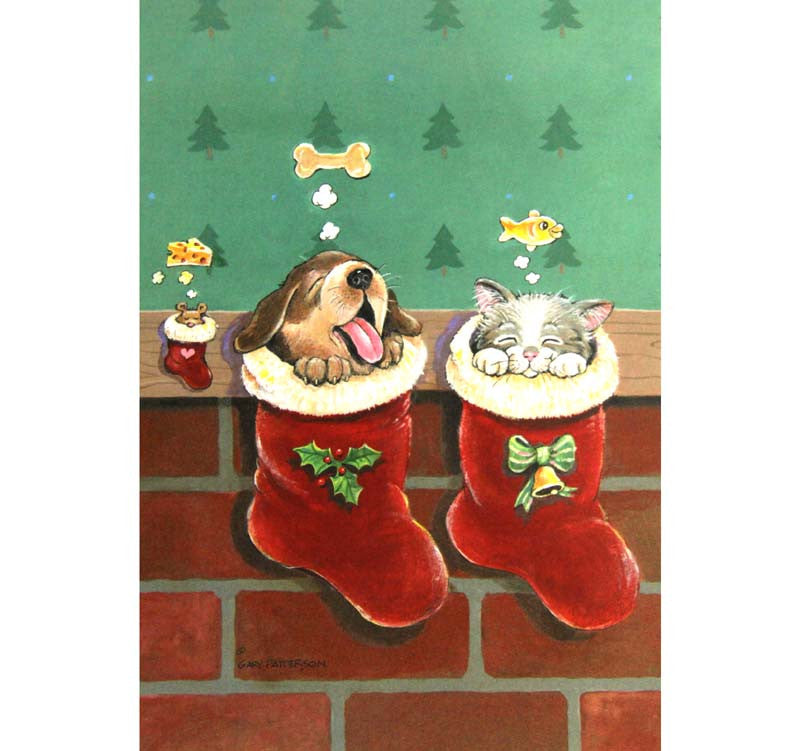 Box of 10 Christmas Dog Cat Mouse