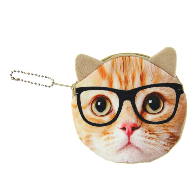 Animal Coin Purse - Cat with Glasses