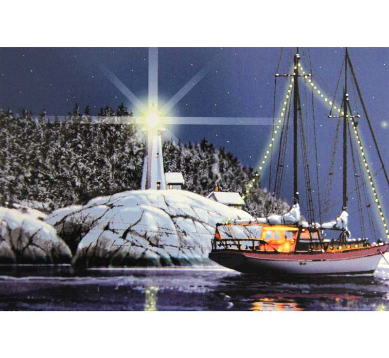 Box of 10 Christmas Boat & Lighthouse