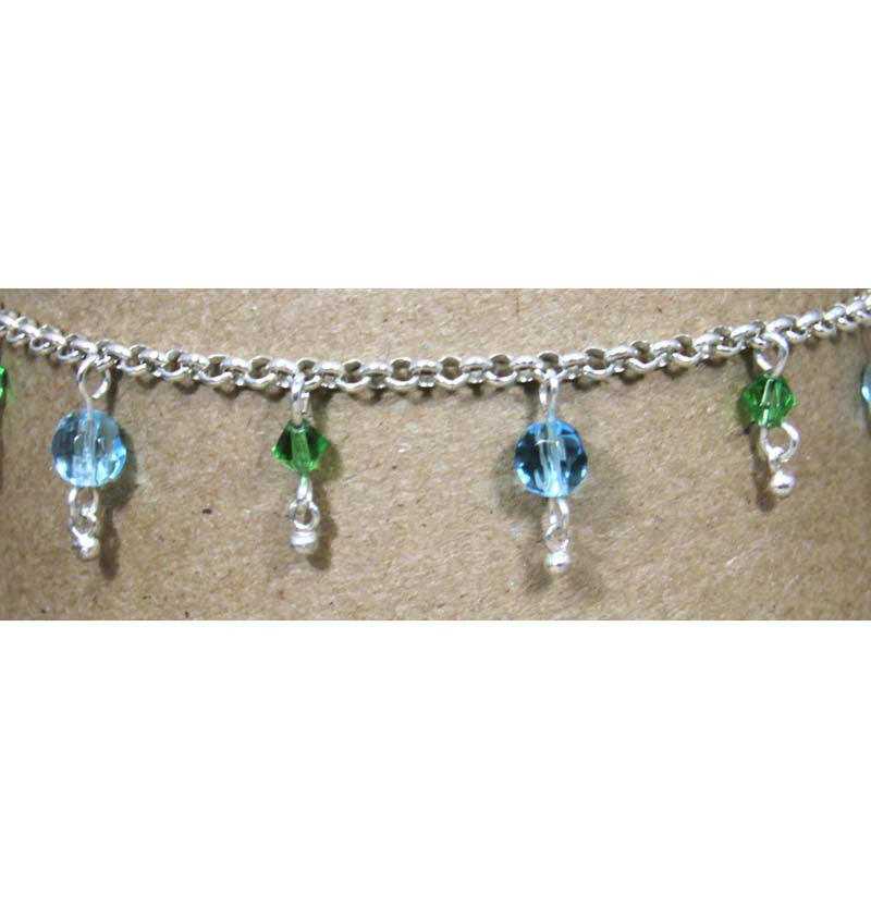 Sterling Silver Light Sapphire Emerald Anklet 10""