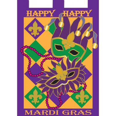 "Mardi Gras Flag Masks & Beads 29"" X 42"""