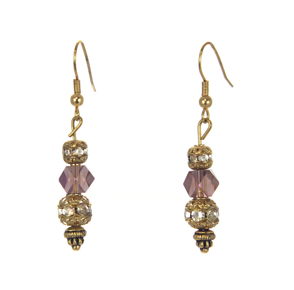 Drop Bead Lilac Earrings Gold