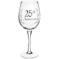 25th Anniversary Wine Glass