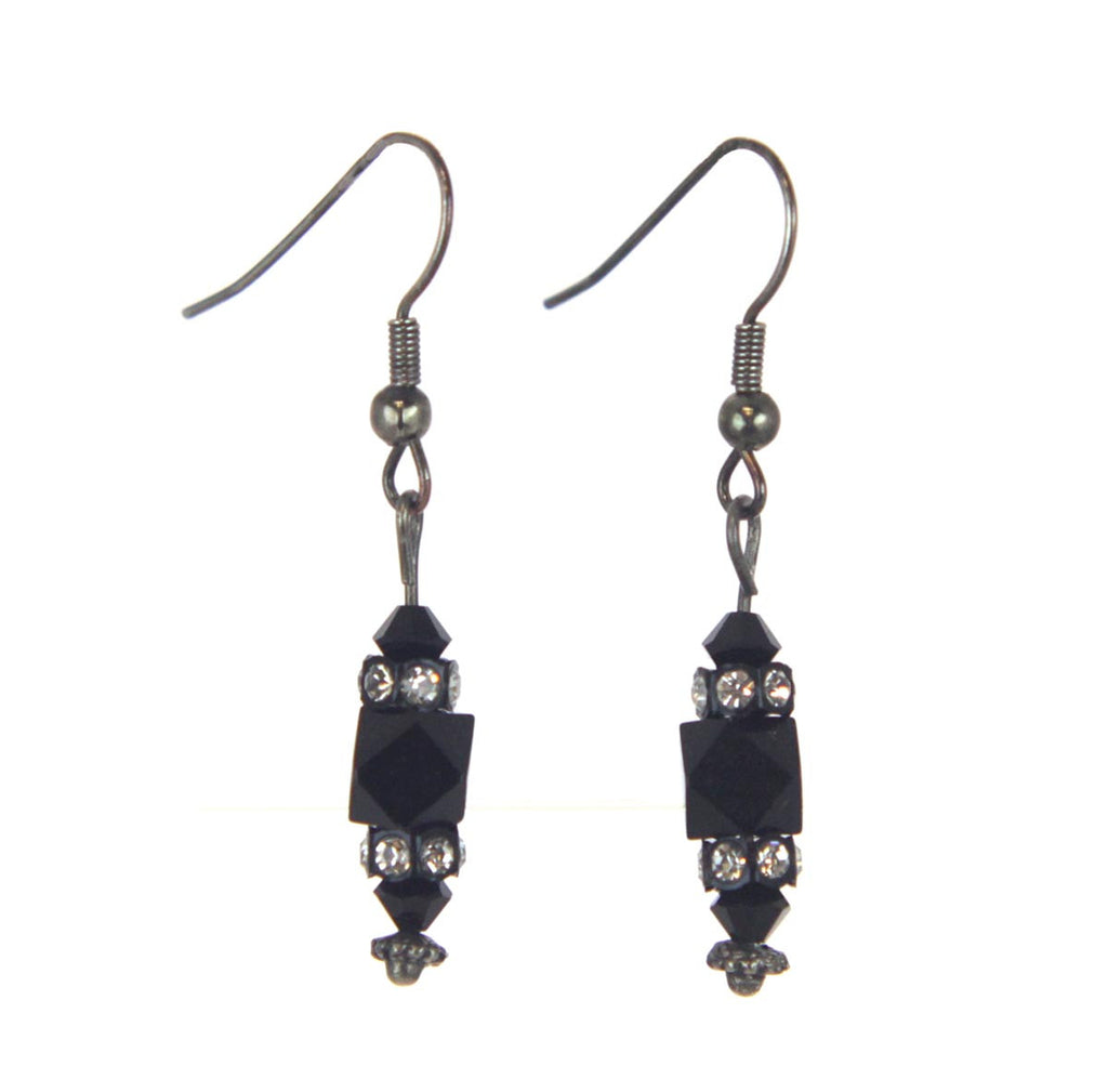 Drop Bead Jet Earrings Silver