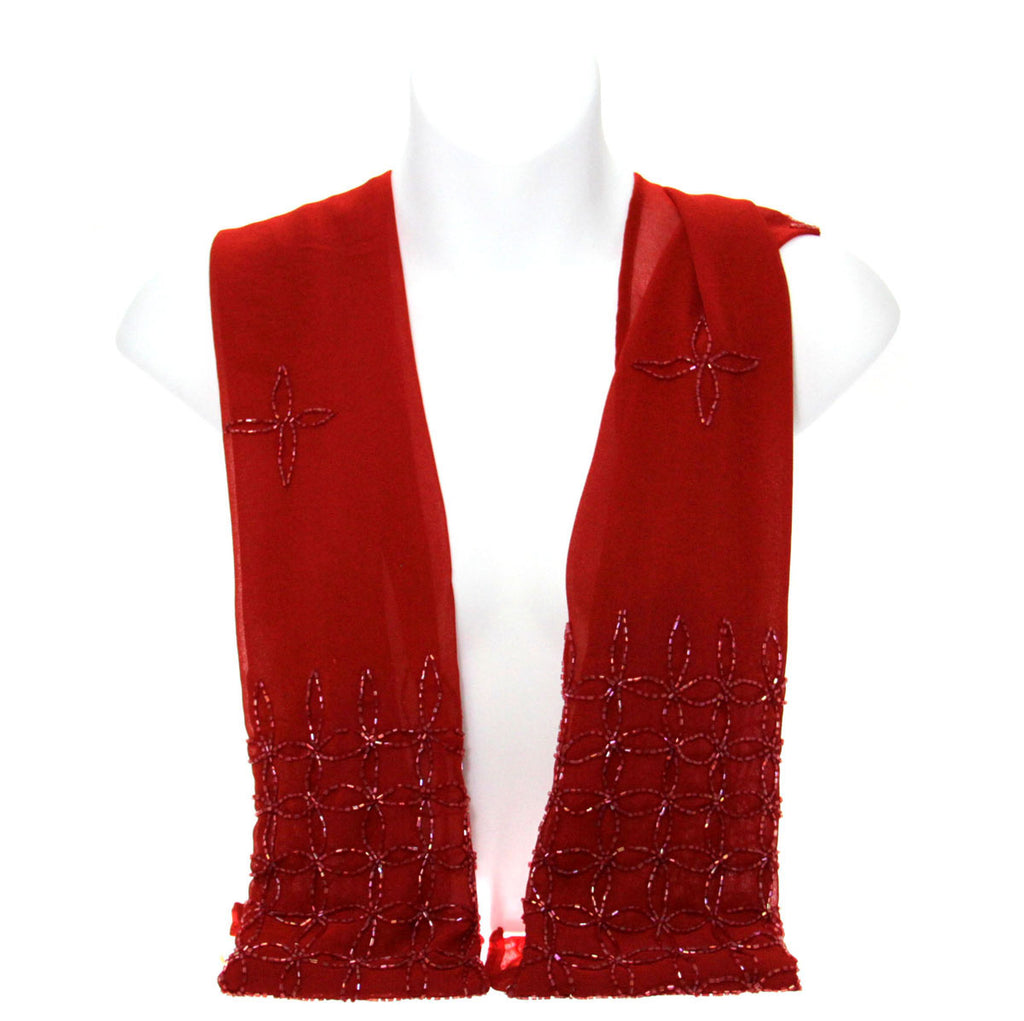 Beaded Scarf Red