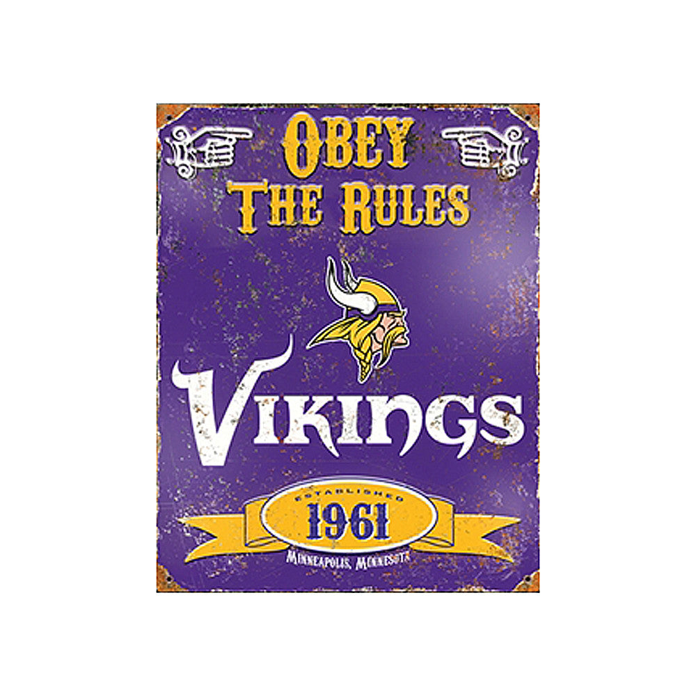 Vikings Embossed Metal Sign