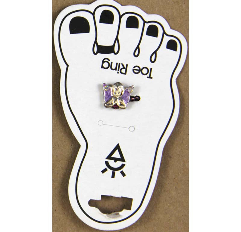 Toe Ring Praying Angel Purple Wings Crystals