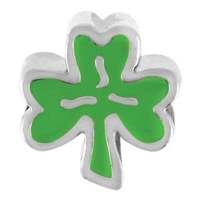 Green Shamrock LuTini Petite Plated Holiday Bead