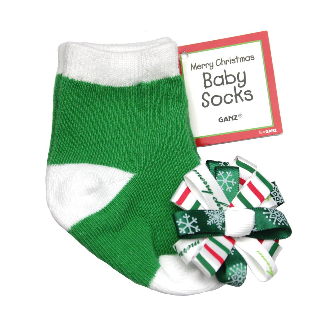 Merry Christmas Baby Socks Green
