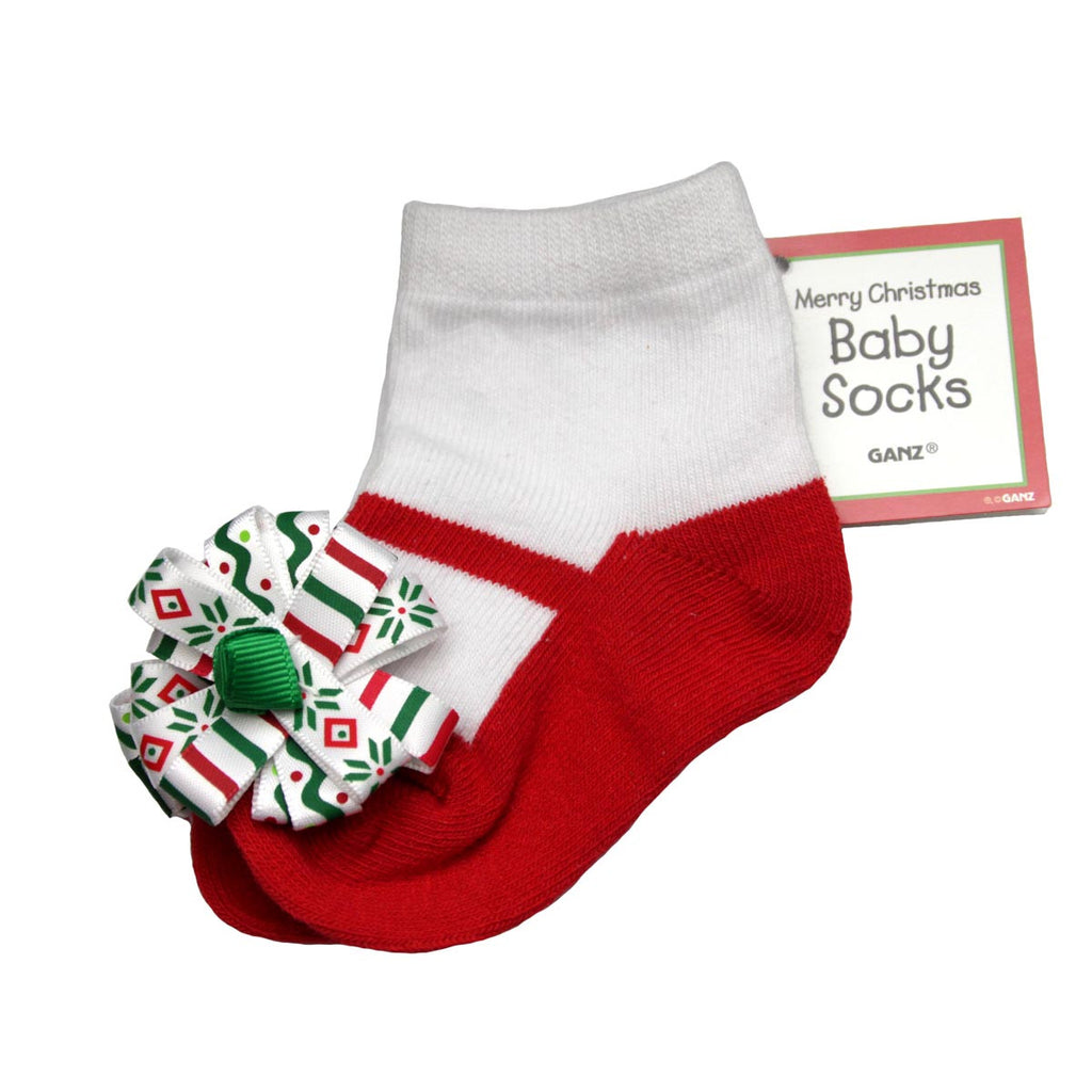 Merry Christmas Baby Socks Red/White