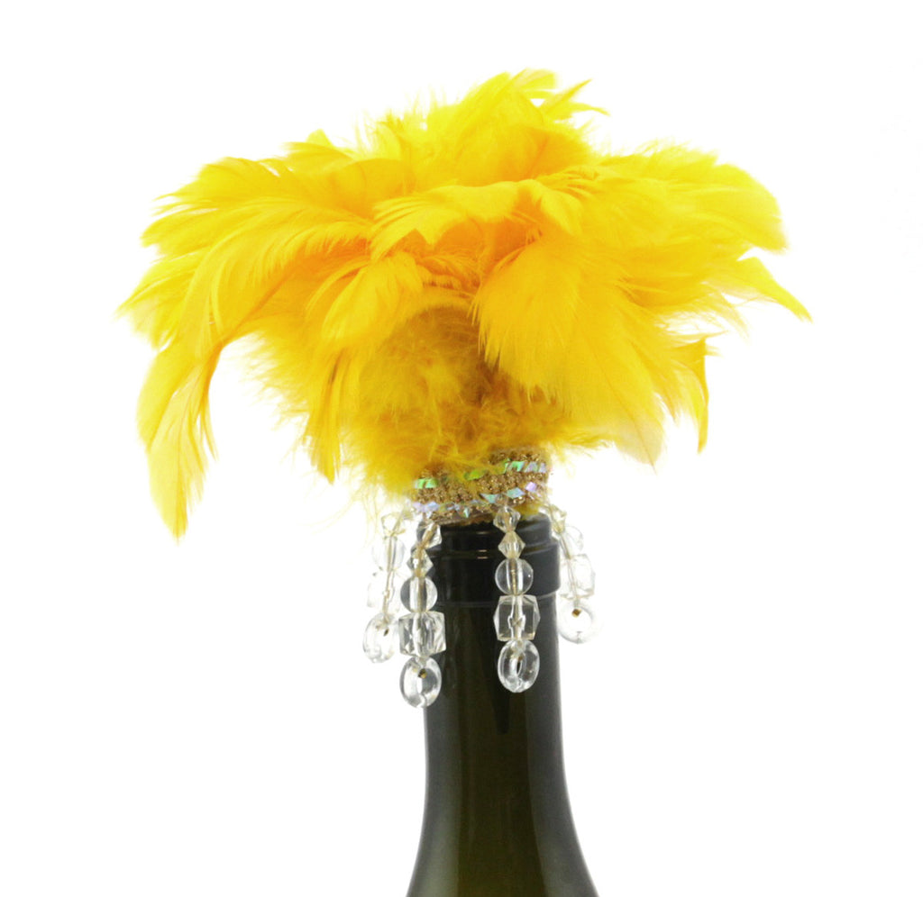Bottle Stopper Feathers Yellow