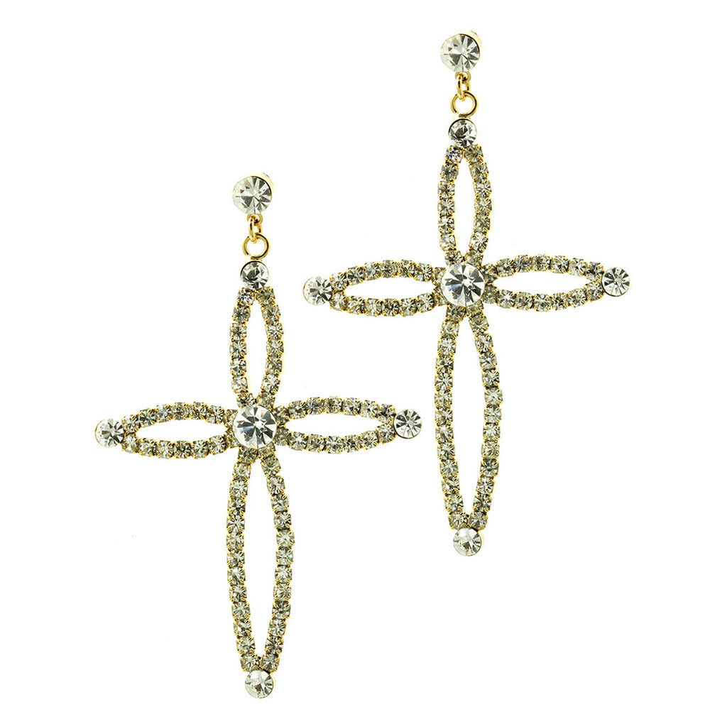 Cross Earrings Rhinestone