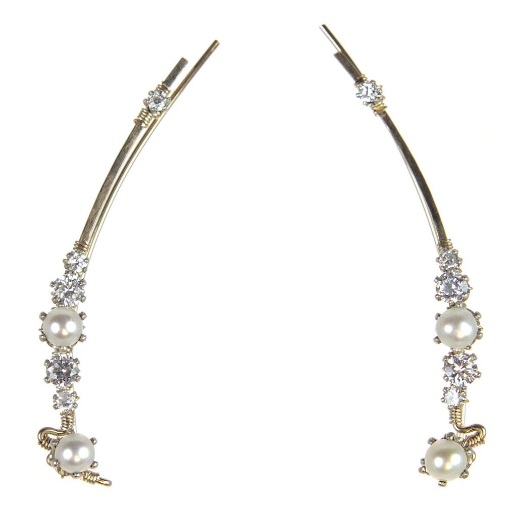 Ear Vine Gold Pearls CZ's