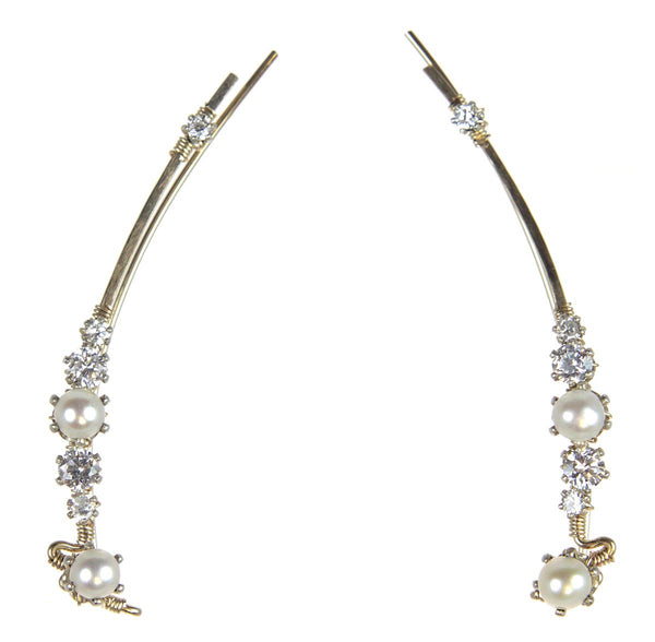 Ear Vine Gold Pearls Cubic Zirconia