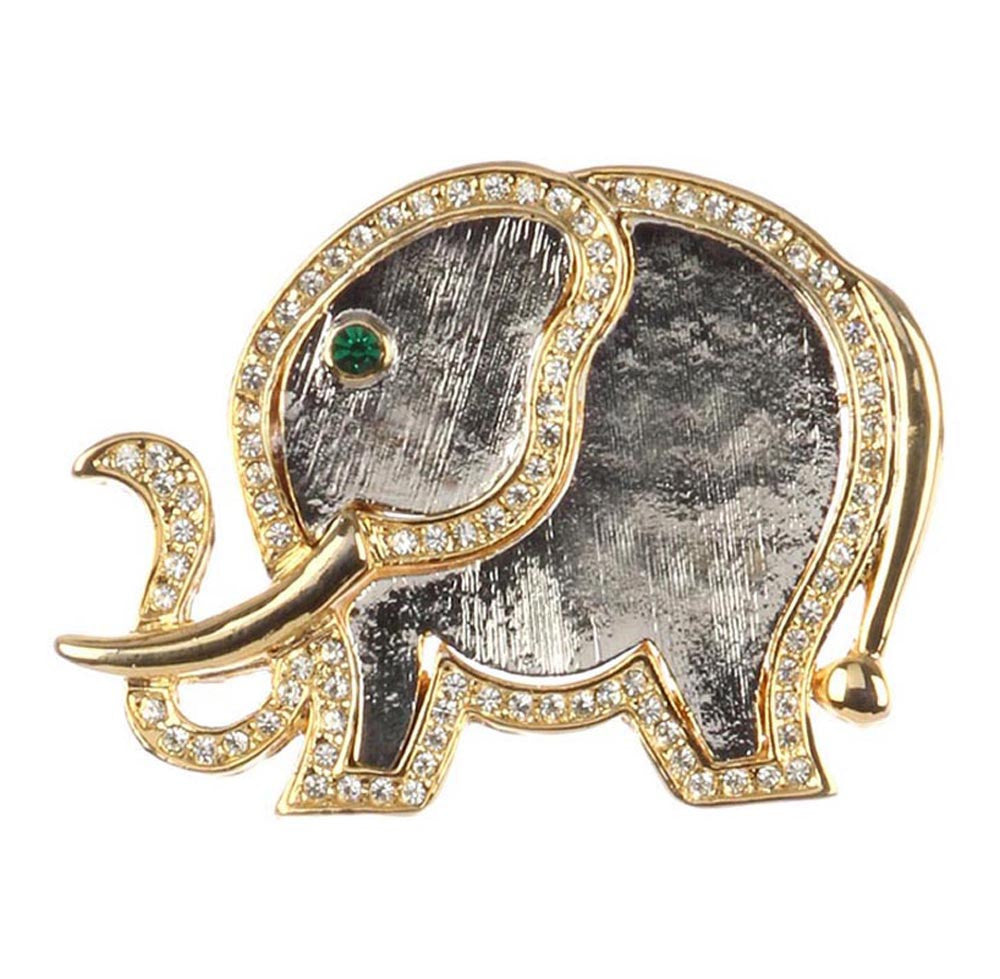 Elephant Pin Gold Crystal