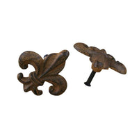 Drawer Knobs Fleur De Lis Antiqued brown