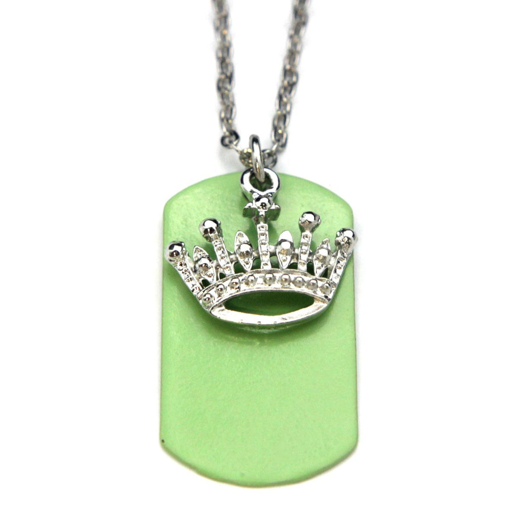 Crown Necklace Dog Tag Green