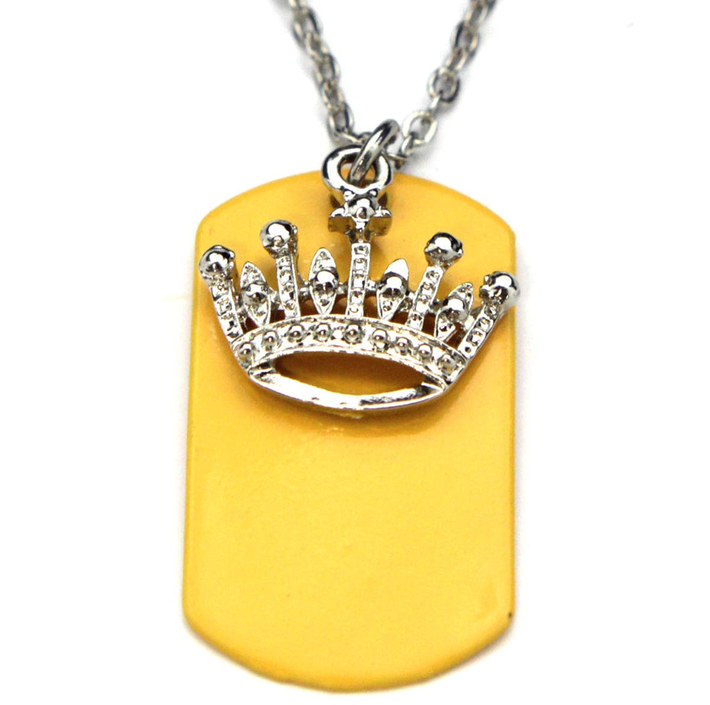 Crown Necklace Dog Tag Yellow