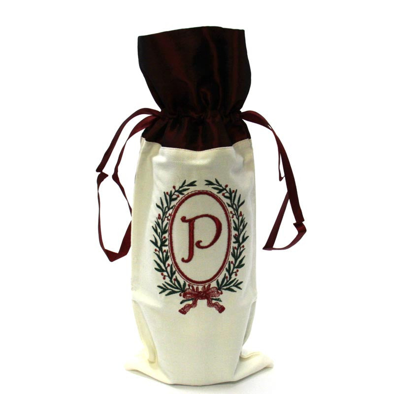 Christmas Monogram Wine Bag P