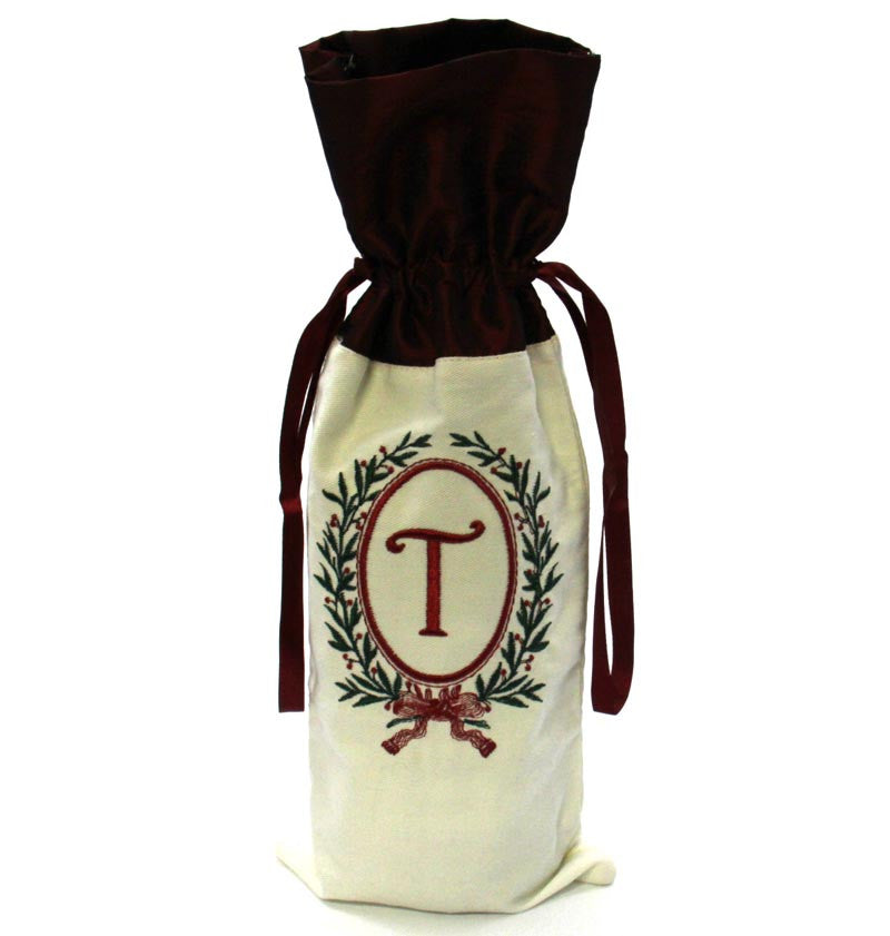Christmas Monogram Wine Bag T