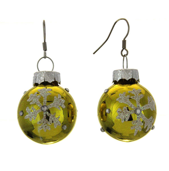 Christmas Bulb Earrings Snowflake Yellow