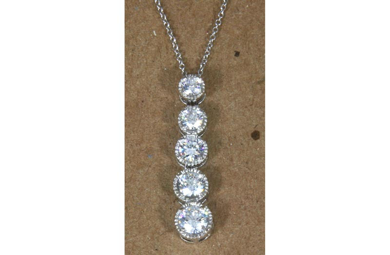 Sterling Silver Drop Pendant Graduated 5 CZ with chain