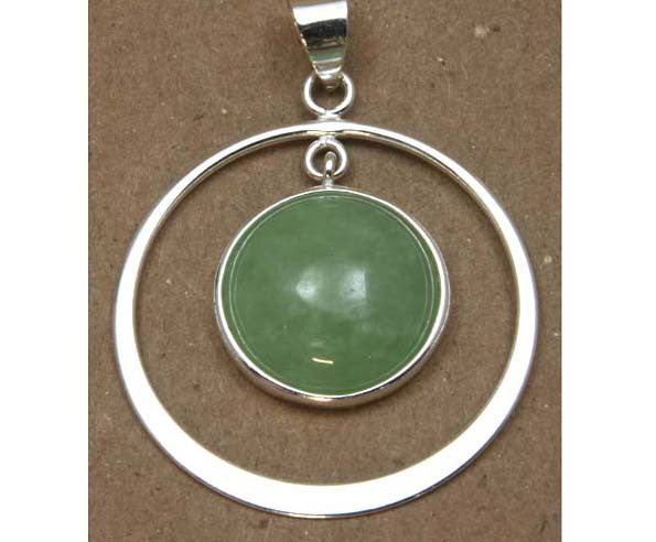 Sterling Silver Jade Circle Pendant