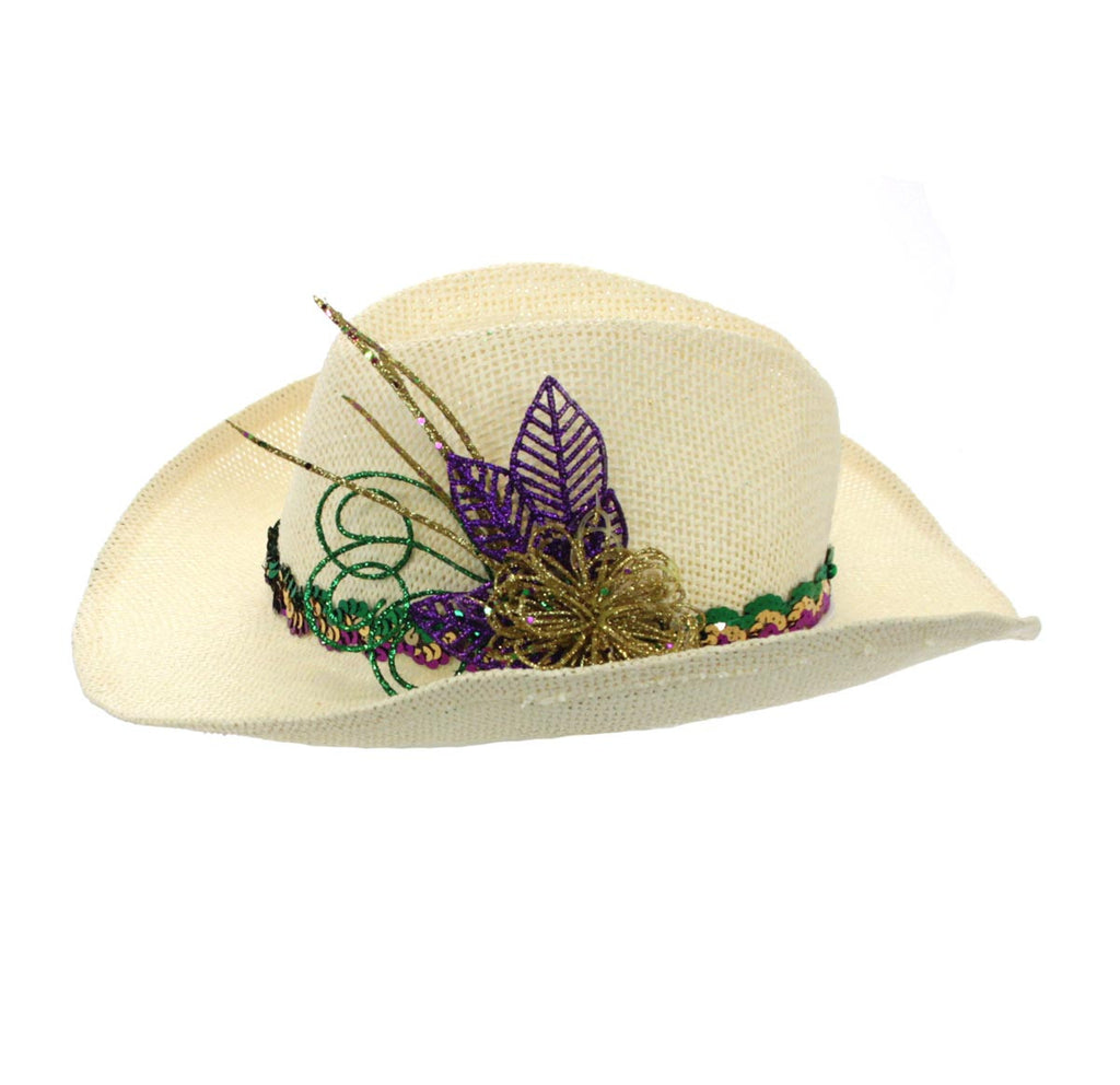 Mardi Gras Cowboy Hat Natural