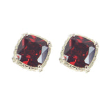 Garnet CZ Post Silver Plate Earrings