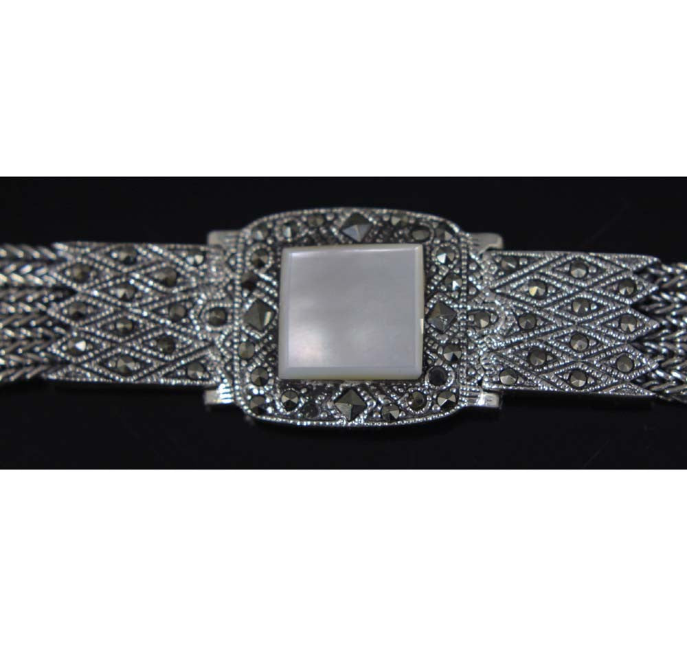 Sterling Silver Bracelet Mother of Pearl 7.5""