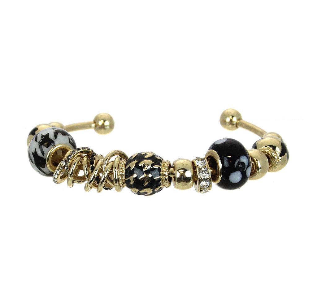 Houndstooth Cuff Beaded Bracelet Gold