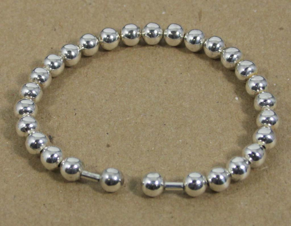 Sterling Silver Beaded Cuff 6mm