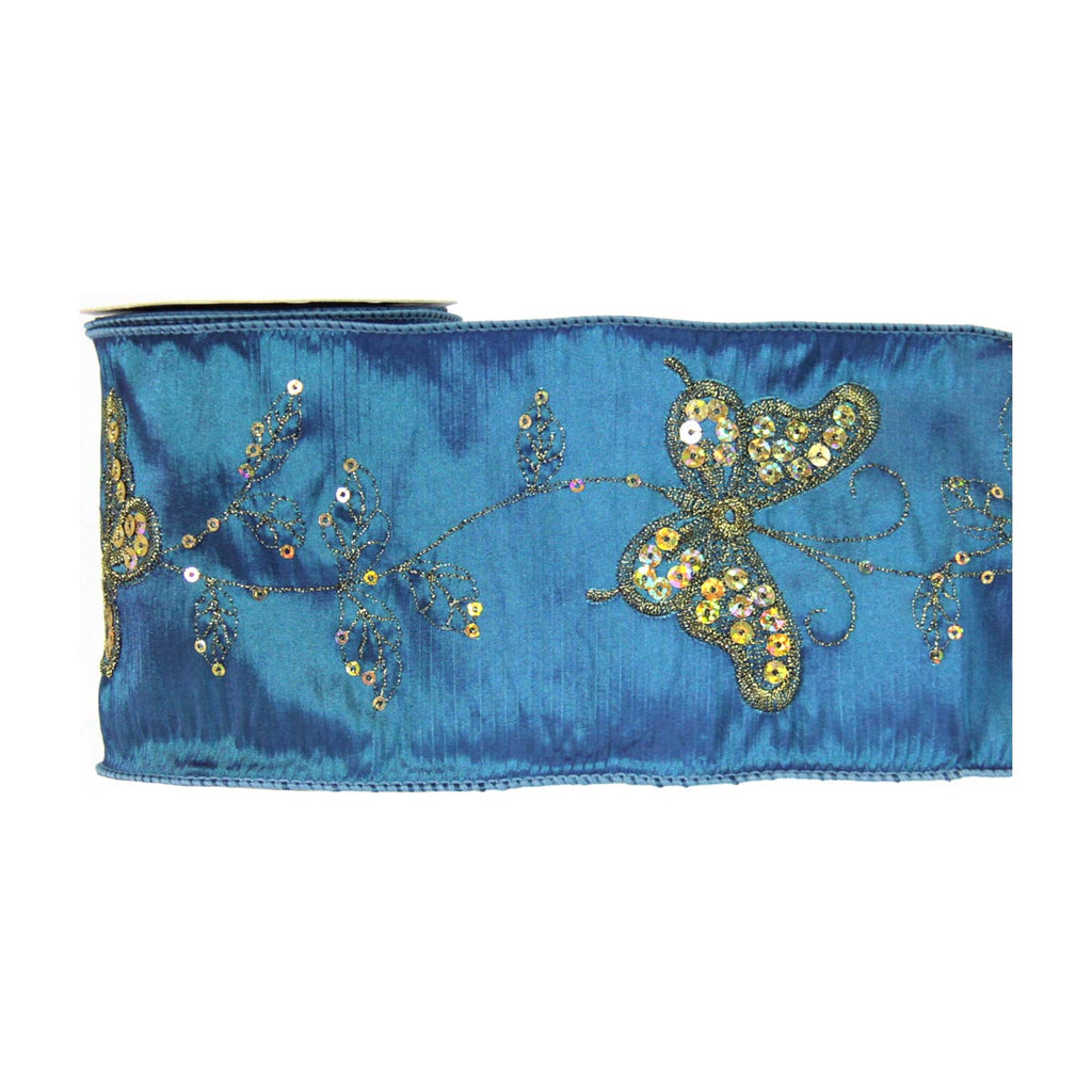 Butterfly Ribbon Dark Teal with Gold Sequin