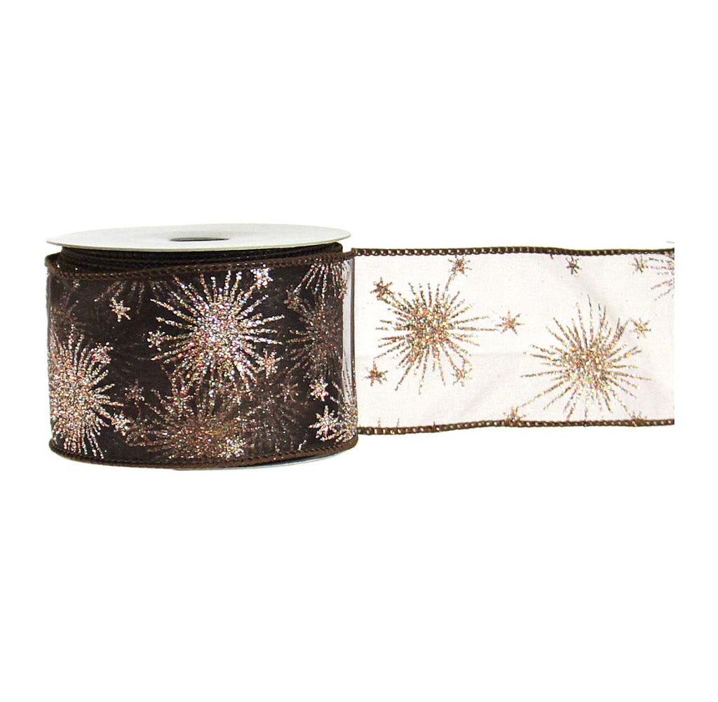 Glittered Starburst Sheer Brown Ribbon
