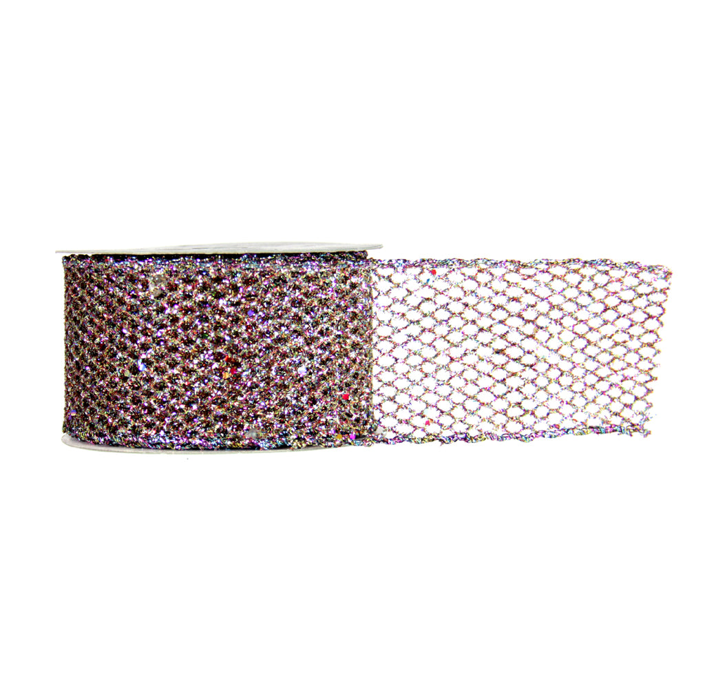 Glitter Mesh Ribbon-Rainbow