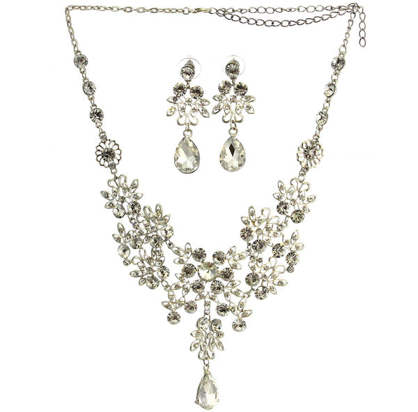 Rhinestone Necklace Earrings Jewelry Set