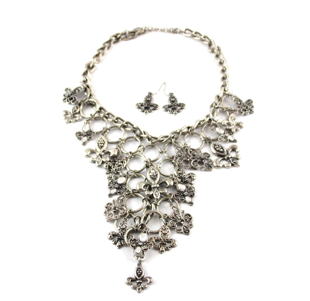 Fleur De Lis Charm Necklace & Earrings