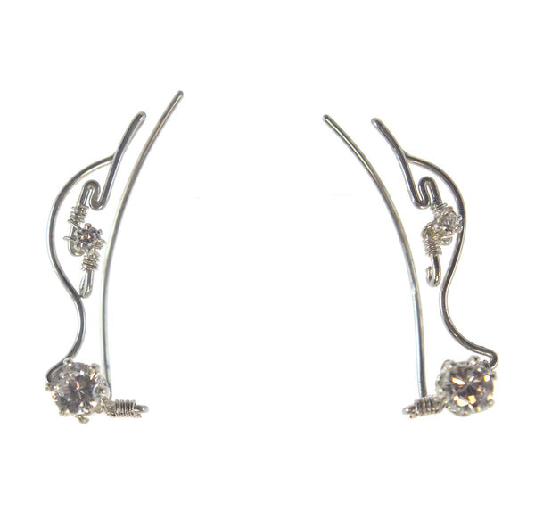 Ear Vine, Sterling Silver with Cubic Zirconia