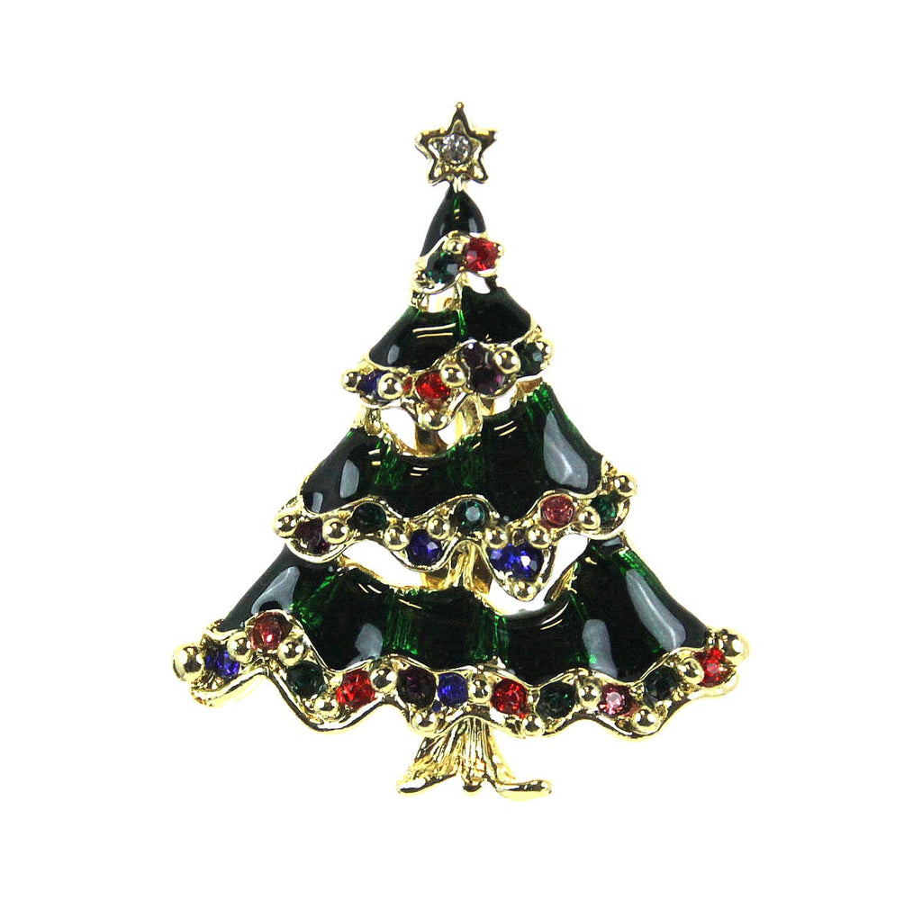 Christmas Tree Enameled with Rhinestone Pin