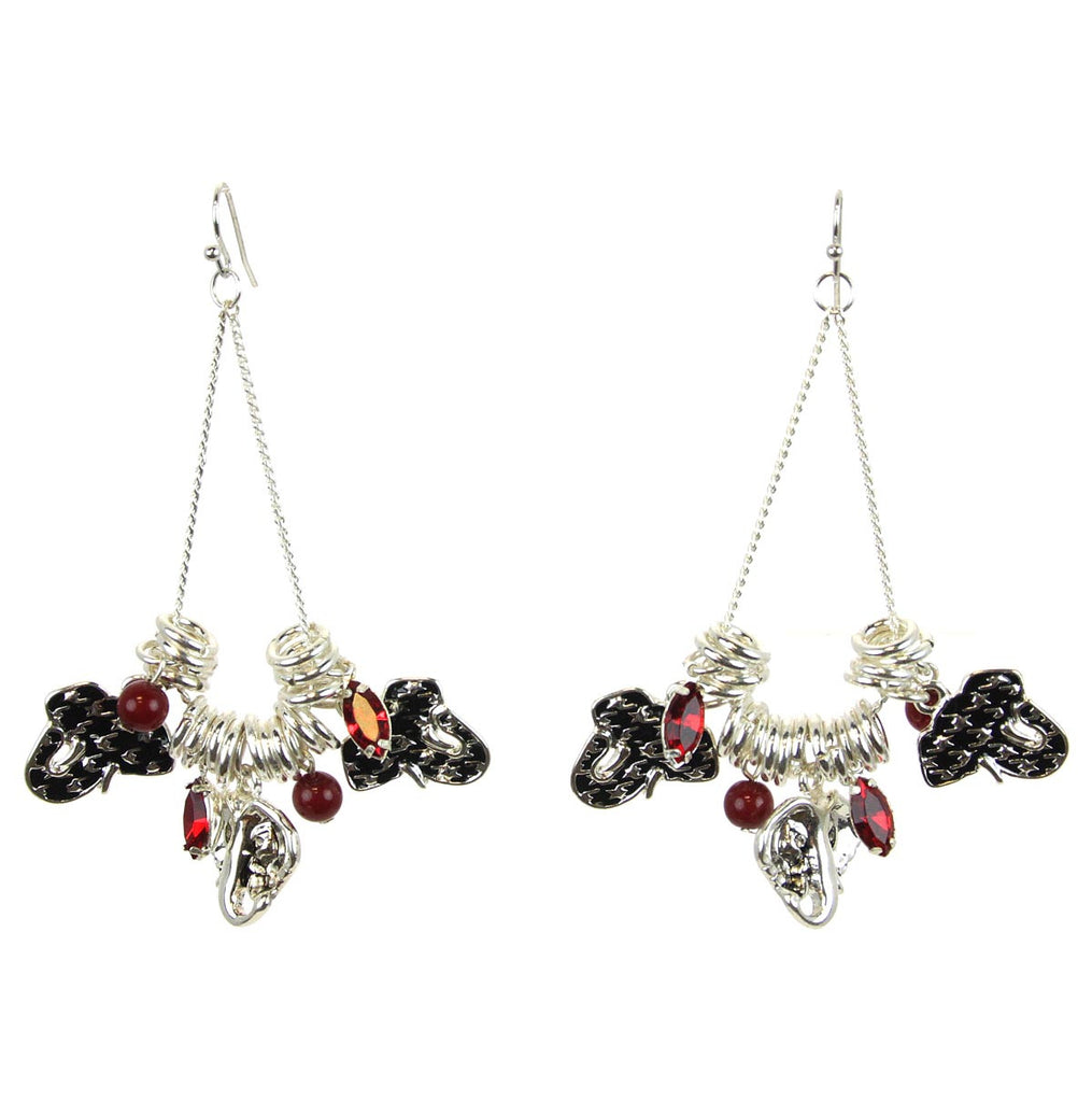 Elephant Houndstooth Charm Earrings
