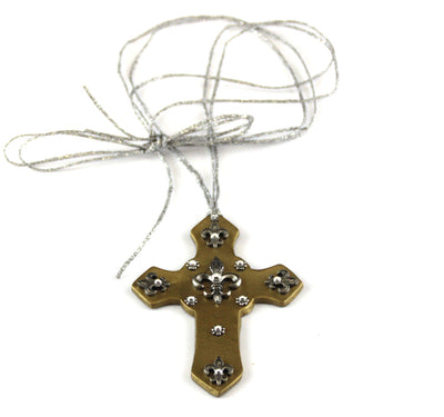 Cross Pendant Fleur De Lis Charms Leather